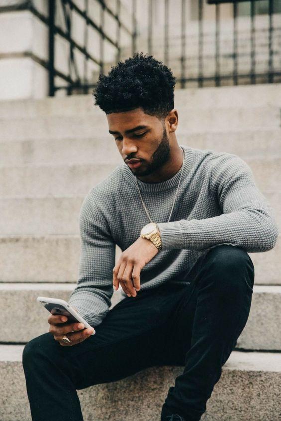 Men with Natural Hair, Black Men Haircuts, Black Men Beards, Black Men Hairstyles, Black Men Fashion