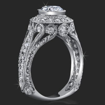 .92 ctw. Engraved Filigree and Bezel Prong Diamond Engagement Ring - bbr286 MostUniqueWeddingRings