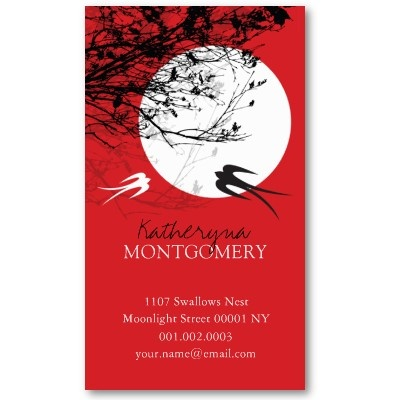 45 best asian zen business cards images on pinterest name cards oriental swallows birds moonlight tree branches zen business card colourmoves
