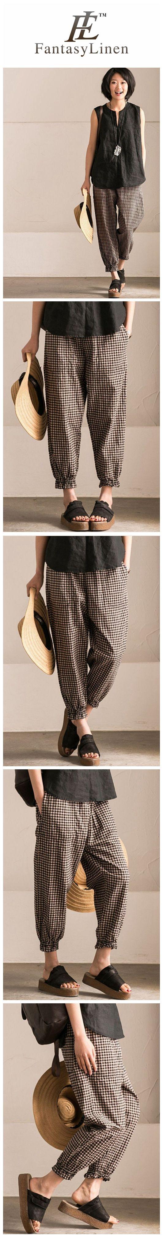 Art Casual Black White Grid Pants Cotton Women Clothes K9653B   K9653B