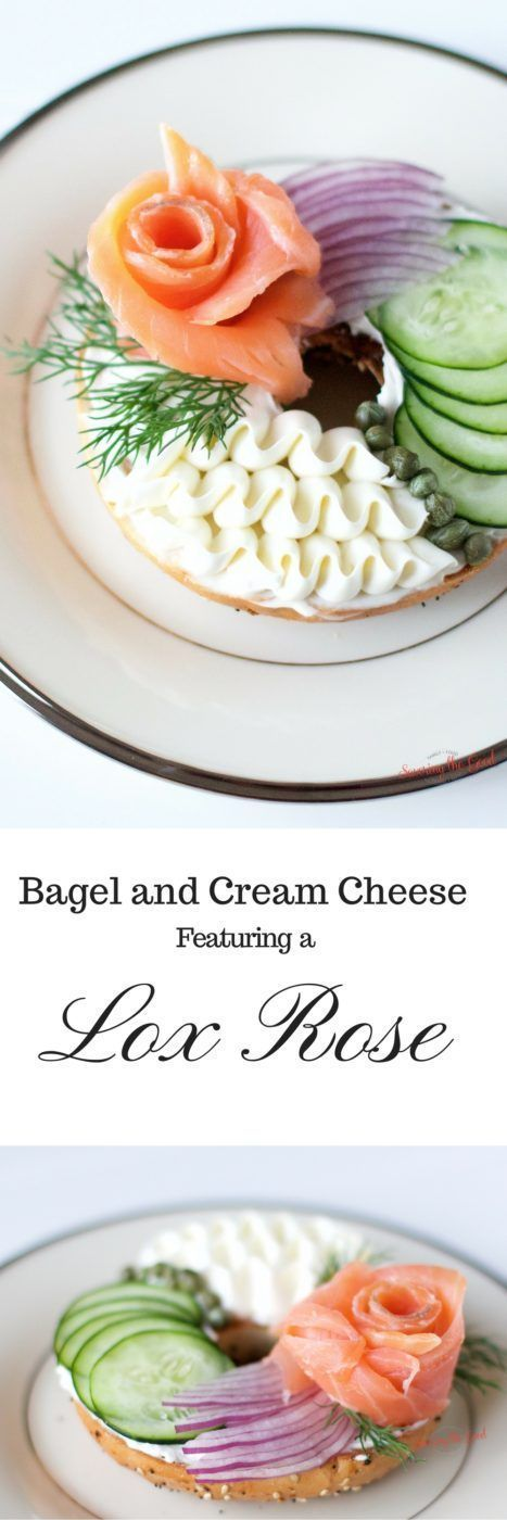 Easter Brunch Bagel and Cream Cheese With A Lox Rose. I feel so fancy when I enjoy this brunch treat. But what if we took this Sunday favorite and made them a bit more beautiful. What if we rolled the lox into a rose? How fancy would we feel then? Fancy e
