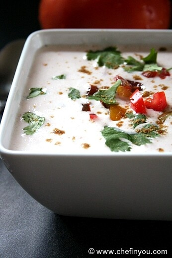 Simple recipe for Raita made with Tomatoes. This yogurt sauce is enjoyed with spicy pilafs/rice dishes in India.