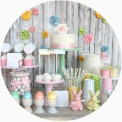 Super cute party supply store!: Flowers Gardens, Easter Parties, Easter Decor, Gardens Theme, Parties Ideas, Easter Printable, Desserts Tables, Pastel Parties, Easter Ideas