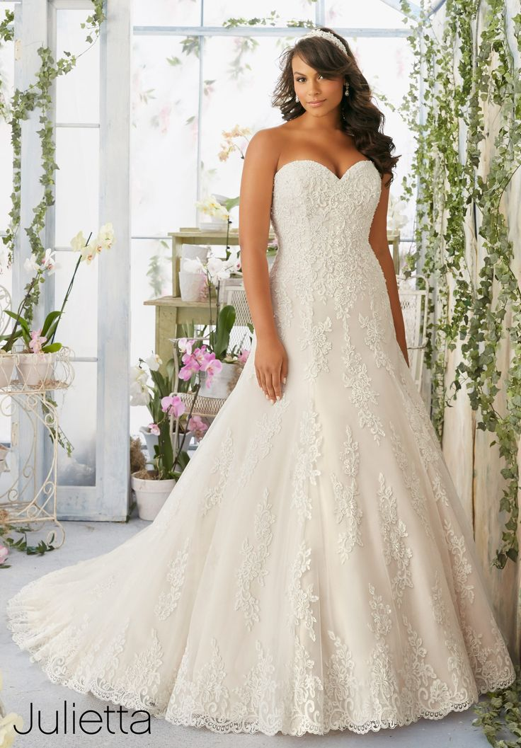 Superb Plus Size Wedding Dress Embroidered Lace Appliqu s and Scalloped Hemline with Crystal Beading on Net
