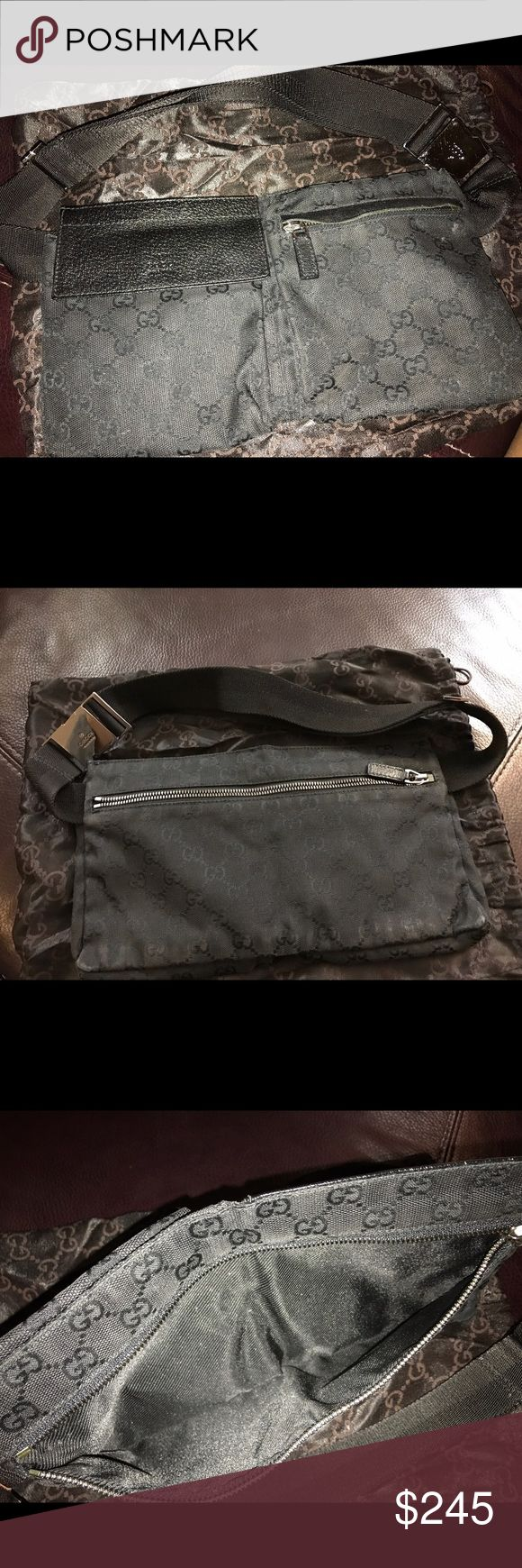 Authentic Gucci Canvas Belt Bag Original all black Gucci belt bag/w dust bag included.  In excellent condition. Gucci Bags