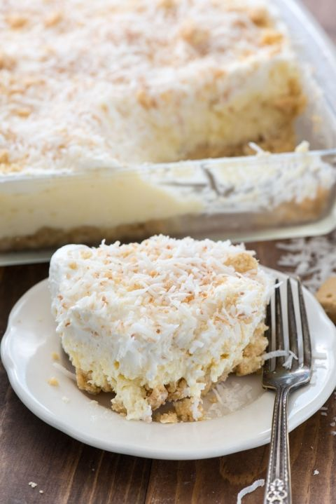 Coconut Cheesecake No Bake Dessert - an easy no bake recipe! This Coconut Delight is filled with cheesecake flavor and a shortbread crust.