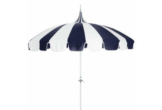 Love Navy & White Pagoda Patio Umbrella, Navy/White