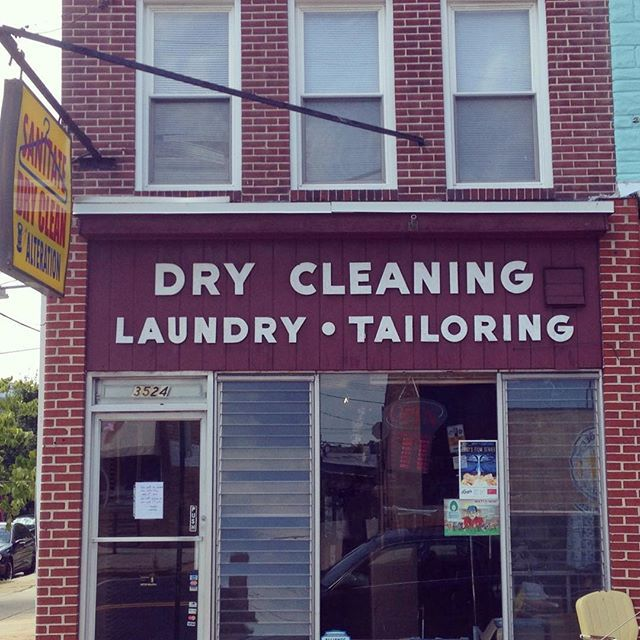 #function #businesssign Sanitate Dry Cleaners Baltimore. #source Instagram @Baltimoretype #designer of font unknown #description #historic #simple #readable this Instagram account finds different typography throughout Baltimore, MD.