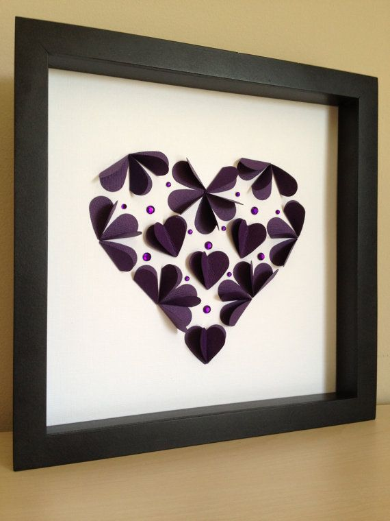 Purple Heart with hearts, Paper Art, can be customized with your colors. $35.00, via Etsy.