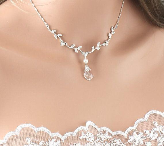 "Bridal Necklace, ""Set"" Crystal Pearl Wedding Necklace"