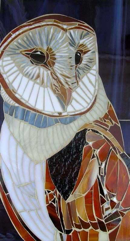 Barn owl by lamosaics ask redhead Fran if she has any stained glass pieces, can they be used like the yard art ceramic ones??