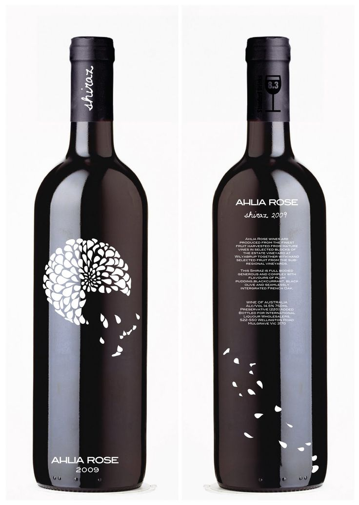 Wine Label DF I love how the petals go all across. Still simple glossy bottle but with more going on. Love