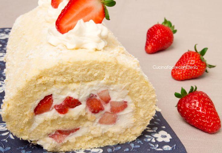 Il Rotolo alle Fragole con Ricotta e Mascarpone è un dolce fresco, profumato e goloso realizzato con una pasta biscotto sofficissima, si scioglie in bocca!!