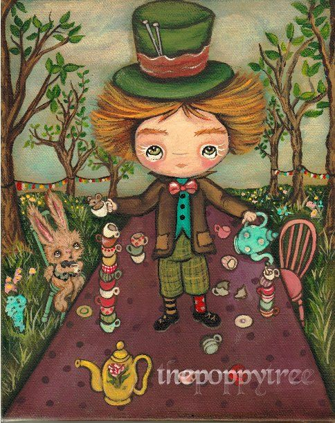 The Mad Hatter Original Painting Cute Mad Tea Party Fairy Tale Wall Art 8 x 10 Mad Tea Table - pinned by pin4etsy.com
