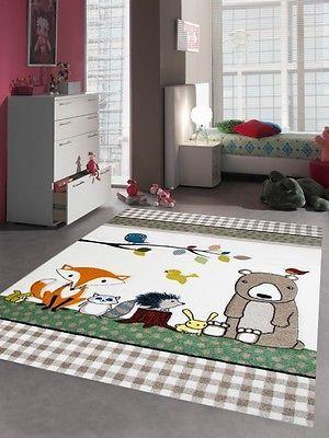 Kinderteppich Spielteppich Kinderzimmer Teppich niedliche bunte Tiere mit Bär Fu