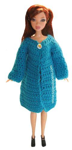 Tutorial: abrigo para muñeca Barbie tejido en crochet!!