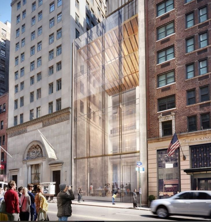111W 57th St, New York. 410m (1350ft) height, 74 storey. Slenderness ratio 1:20. By Shop Architects. Entrance view