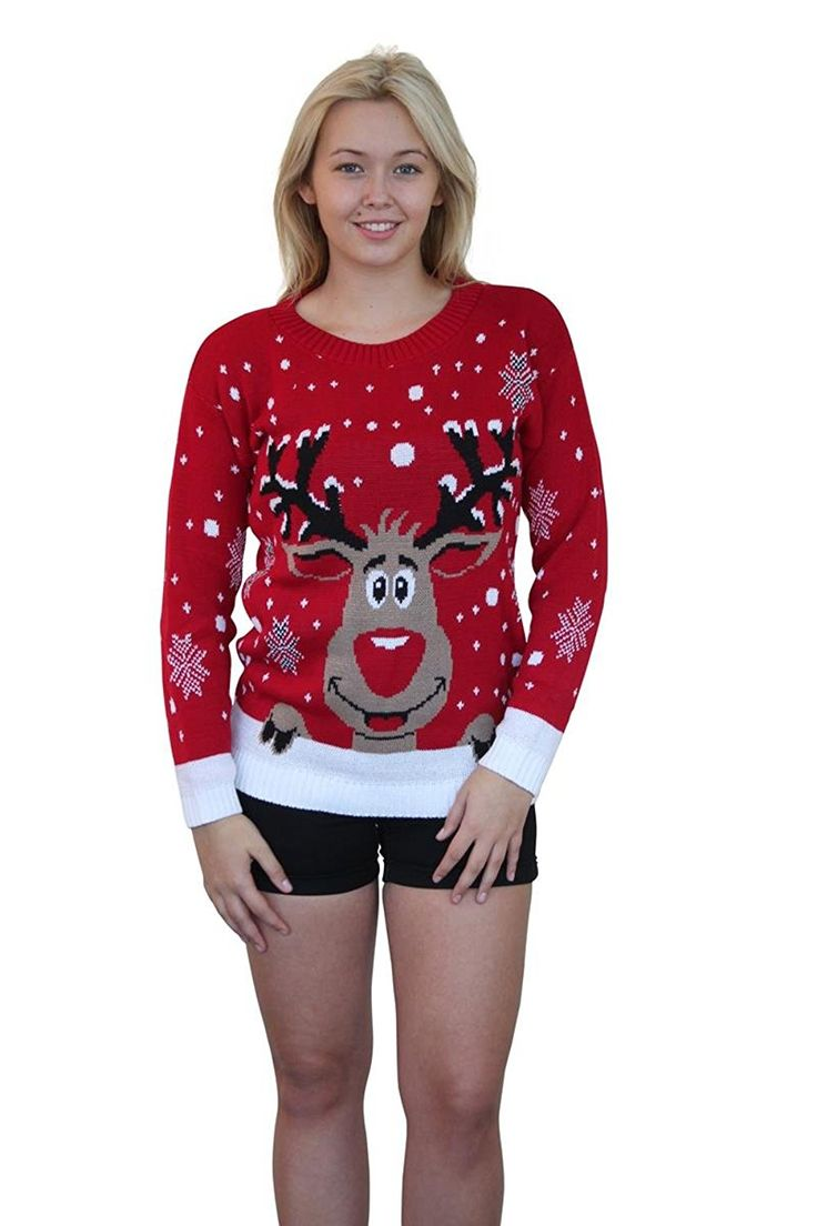 Girl Talk Clothing Christmas Novelty Knitted Reindeer Jumper at Amazon Women's Clothing store: