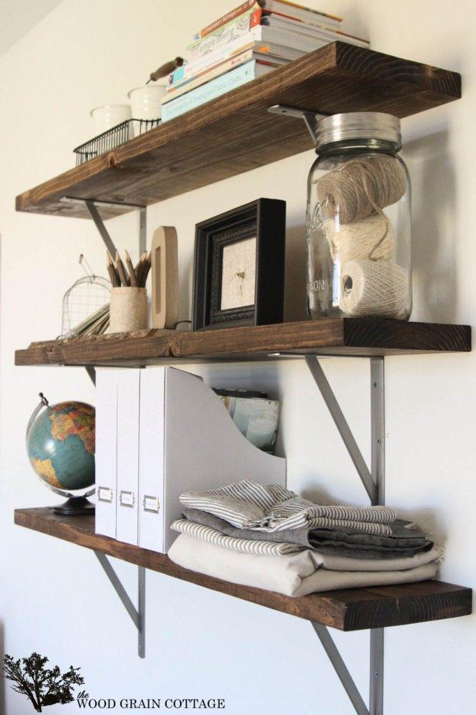 Minwax Dark Walnut | DIY Office Shelves by The Wood Grain Cottage