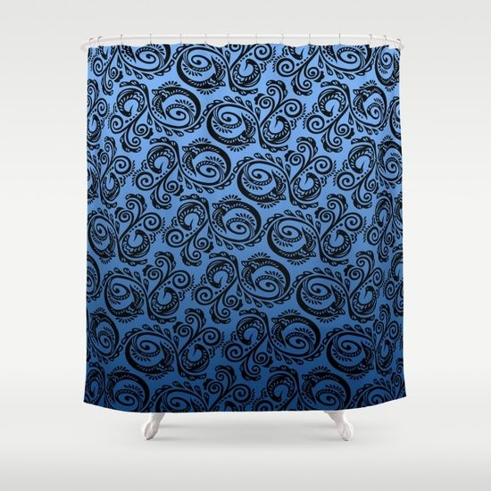 Scandinavian Peacock ~ Blue 01 Shower Curtain. Pattern inspired by Scandinavian Folk Art. Abstract peacock pattern that you can find in different products, such as: home decor, fashion accessories, iphone cases, apparel, gift ideas, and much more! For lovers of everything blue, folk art, and minimalist decor.