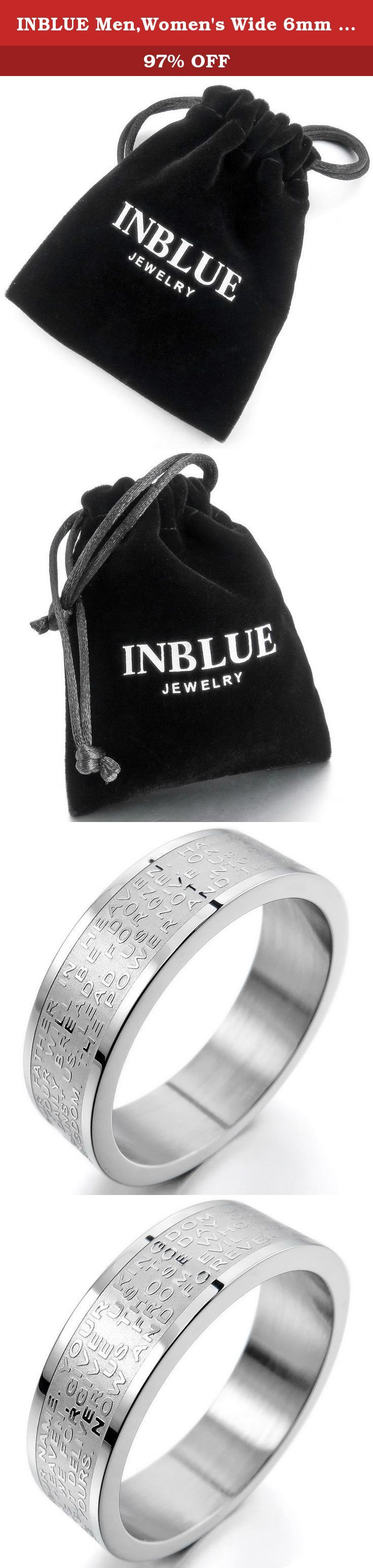 INBLUE Men,Women's Wide 6mm Stainless Steel Ring Band Silver Tone English Bible Lords Prayer Cross Size5. INBLUE - High quality Jewelry Discover the INBLUE Collection of jewelry. The selection of high-quality jewelry featured in the INBLUE Collection offers Great values at affordable Price, they mainly made of high quality Stainless Steel, Tungsten, Silver and Leather. Find a special gift for a loved one or a beautiful piece that complements your personal style with jewelry from the…