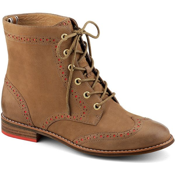 Sperry Top-Sider Adeline Boot ($130) ❤ liked on Polyvore featuring shoes, boots, sapatos, botas, linen brogue, wingtip boots, side zipper boots, leather oxford shoes, stacked heel boots and wingtip brogues