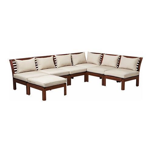 27 - ÄPPLARÖ / HÅLLÖ 6-seat sectional + stool, outdoor, brown brown stained, beige brown stained/beige - $840