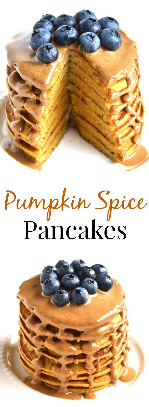 The perfect weekend breakfast has never been easier with these Pumpkin Spice Pancakes that are made healthy with real pumpkin, Greek yogurt and pumpkin spice peanut butter! Gluten-free and healthy too! www.nutritionistreviews.com