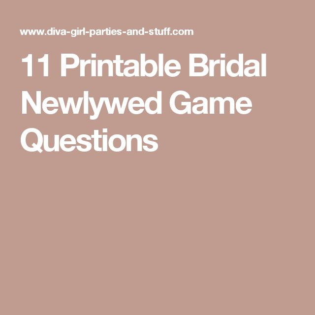 11 Printable Bridal Newlywed Game Questions