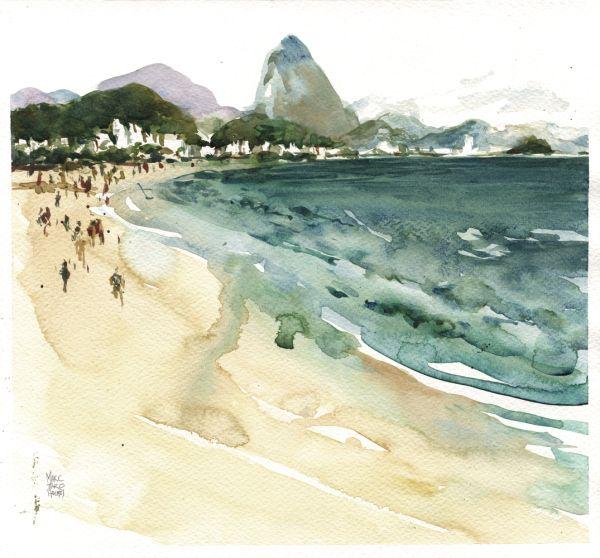 Watercolor Sketching in Rio de Janeiro : The Three Big Shapes