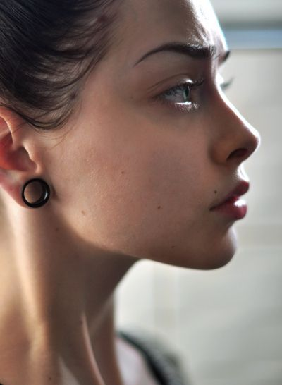 00 ear gauges girl - Google Search