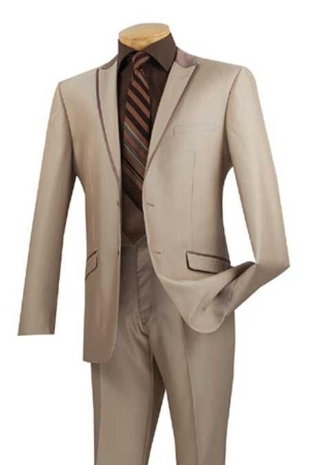 Beige Color Formal Slim Fit Suits and Tuxedo .Price only at $199