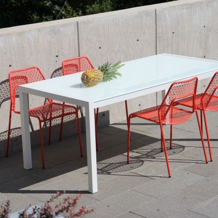 Skiff Outdoor Rectangular Table From Blu Dots Collection Of Modern Tables Glass Top Hoisted By White Steel Legs