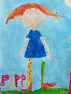 Jeg har malet Pippi Langstrømpemalerier med mit ene billedkunsthold. Eleverne er 6 og 7 år. De har malet på A3 akvarelpapir...