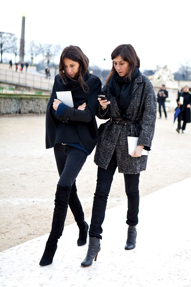 Emmanuelle Alt and Geraldine Saglio of French Vogue at Paris Fashion Week.