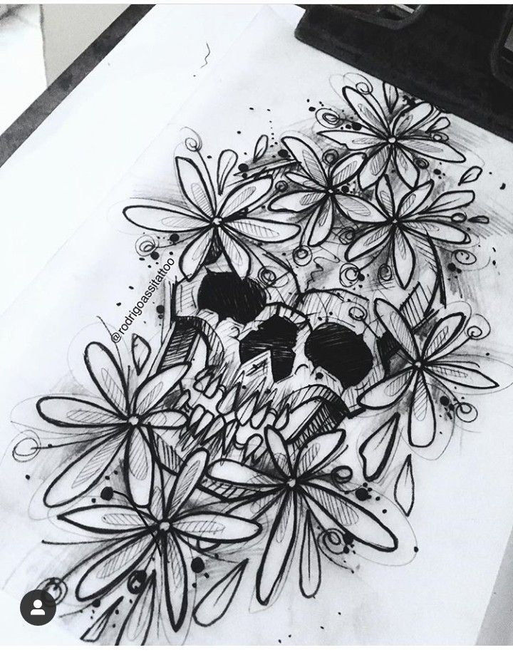 Calavera Flores Diseno Tattoo Calaveras Flores Tatuajes Dibujos