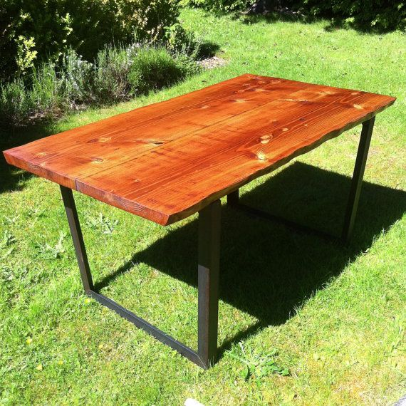 Reclaimed Wood dining table with Live edge top by JSReclaimedWood, $1583.00