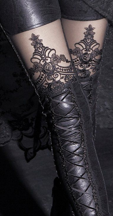 Gothic Leggings ~ All One piece,shorts look in front, thigh stencil & leather look, faux lace-up stocking.  goes from waist to ankle