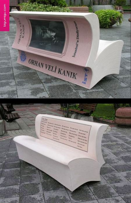 The city of Istanbul is promoting reading with book benches. Benches that look like an open book have been placed around the city and on each bench which carry poems from 18 famous Turkish poets.