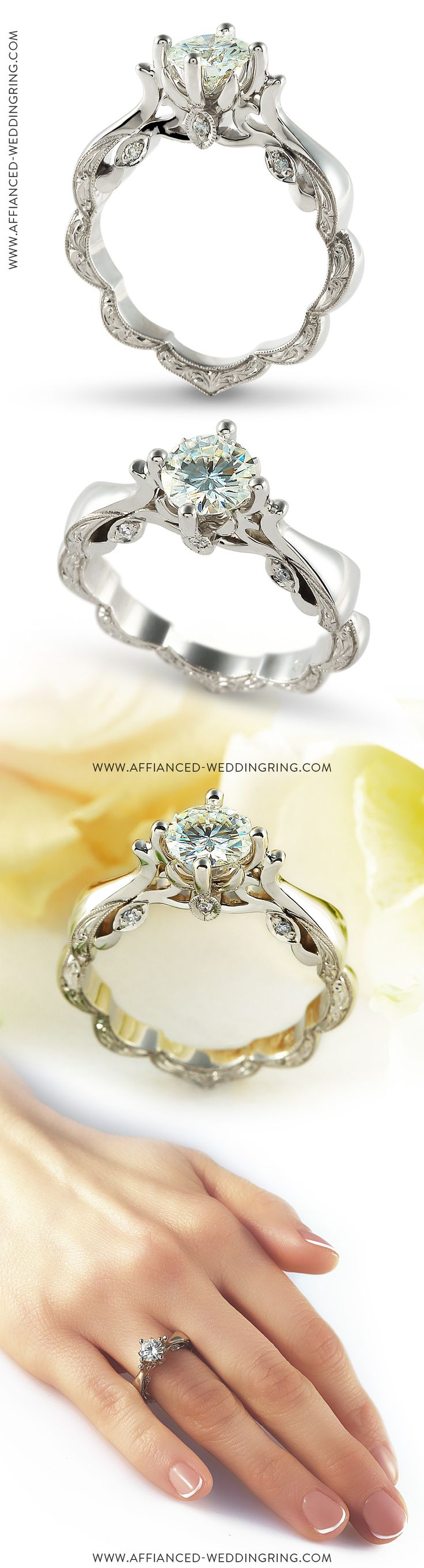 Extreme look white gold engagement ring decorated with center 1ct diamond and 6 pcs small diamonds.