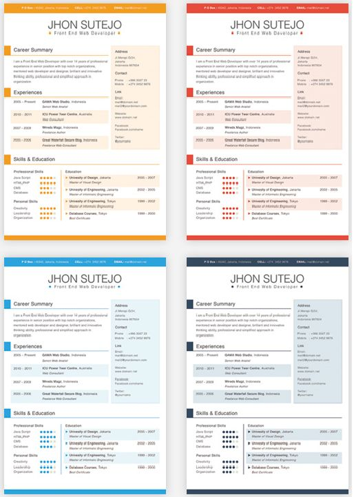 single page curriculum vitae in 5 basic colors