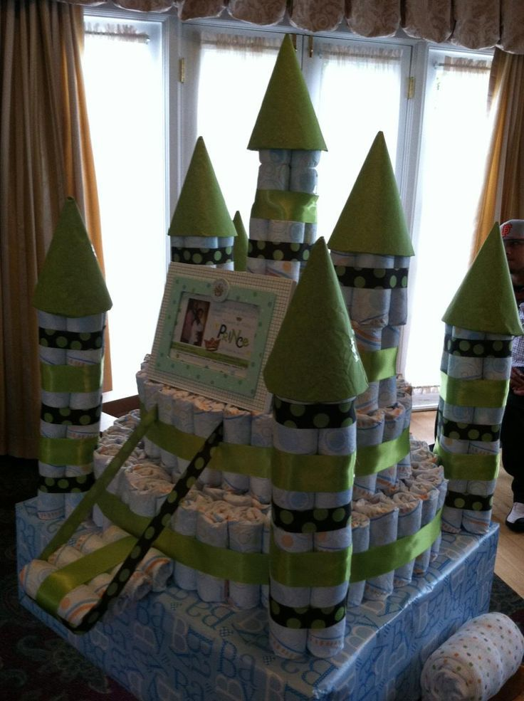 Castle made with baby washcloths and ribbon!  Sooo adorable!