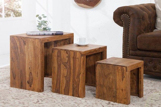 Massives 3er-Set Beistelltische MAKASSAR Sheesham stone finish - Rustikal, exklusiv und mit viel Klasse präsentieren sich diese schönen Beistelltische im Set. Die wundervolle Maserung und die natürlic