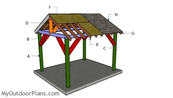 10x12 Pavilion Roof Plans Myoutdoorplans Free Woodworking Plans And Projects Diy Shed Wooden Playho Wooden Playhouse Kits Wooden Playhouse Pavilion Plans