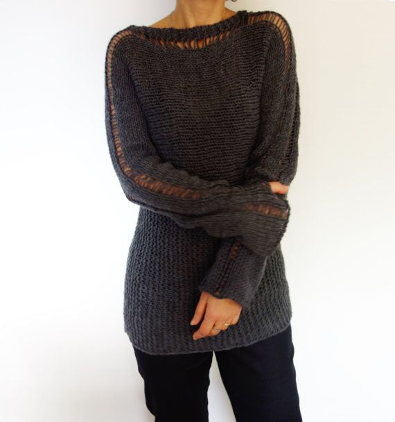 Knitting Pattern  Slim Thumb Hole Sweater/ Long by CamexiaDesigns