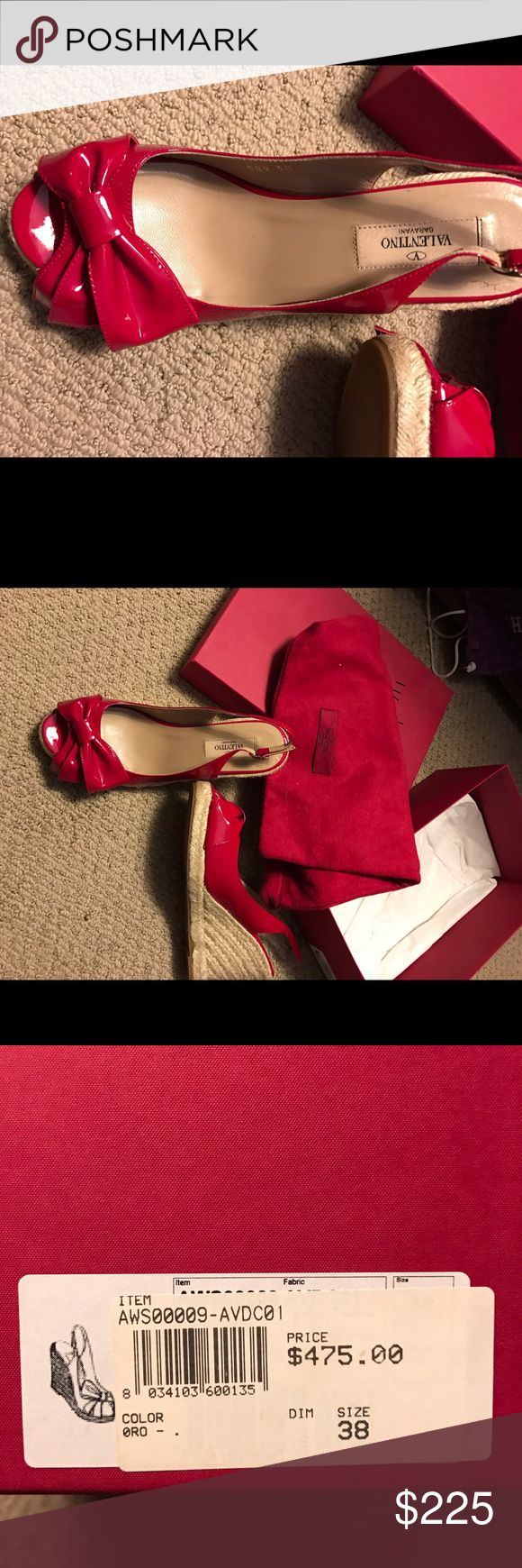 Valentino wedges Red patent leather wedges. Size 38, worn only a few times. Valentino Shoes Wedges