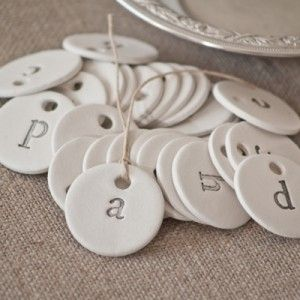 Individual Handmade Typography Clay Tag A - Z
