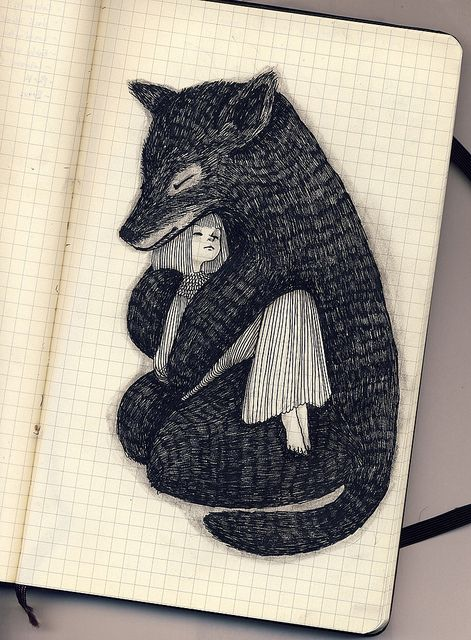 Renard et enfant crayon