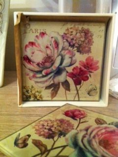 Paris flower glass coasters