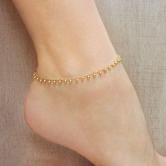 6fff79cd75f0e Gold Beaded Chain Anklet // Summer Boho Ankle Bracelet // Delicate ...